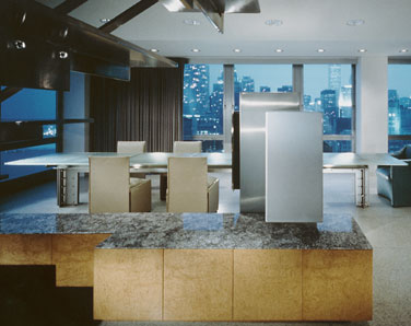 Custom stainless steel cabinets clad to wood with opaque glass doors