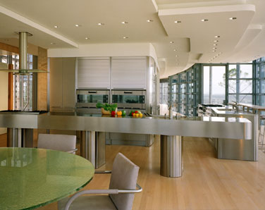 Stainless steel kitchen counters, bases and panels