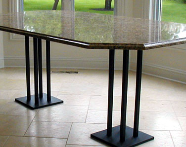Custom painted steel table base