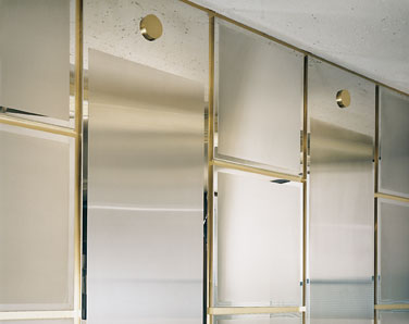 Brushed stainless steel decorative wall panels with mirror polished bronze edge reveals